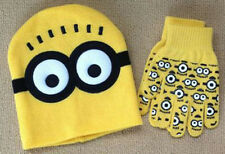 """NEW Despicable Me """"MINION"""" Winter Beanie Hat and Gloves Set Yellow 3-12 Years"""