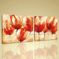 Large Abstract Painting Canvas Print Contemporary Wall Art Floral Tulip Flower