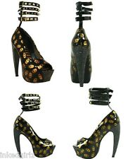 Too Fast Gold Skull Curved Glitter Heel PsychoBilly Platform Shoes Ankle Spike