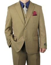 Promotion! Sharp 3pc Men 2B. Dress Suit Expandable Waist Khaki 36S-48L tb31