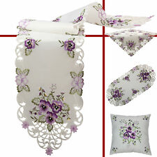 Pansy Table runner Doily Tablecloth Cushion cover Cream Purple Flower Embroidery