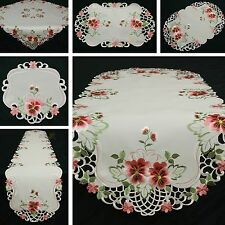 Splendid Pansy Table runner Doily Tablecloth White with Pink Flower Embroidery