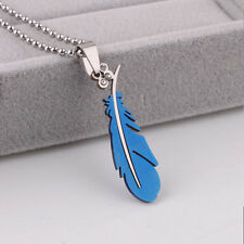 Beauty Men's Stainless Steel Silver Green Black Feather Chain Pendant Necklace
