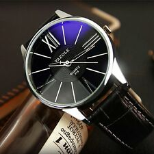 Fashion Men's Leather Stainless Steel Military Analog Casual Quartz Wrist Watch