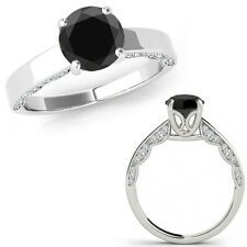 1.25 Carat Black Diamond Vintage Beautiful Solitaire Wedding Ring 14K White Gold
