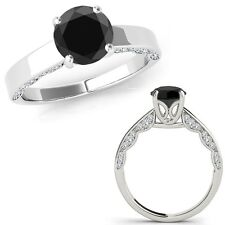 1 Carat Black Diamond Vintage Beautiful Solitaire Wedding Ring 14K White Gold