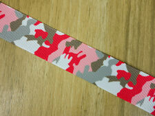 "7/8"" Girls Pink Military Camouflage Camo Grosgrain Ribbon HairBow Party Supplies"