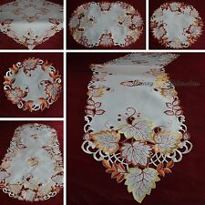 Embroidered Tablecloth Table runner Topper Doily Autumn Fall Leaf Cutwork Design