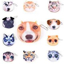 Cute New Kids Cat Dog Face Zipper Case Coin Ladies Purse Wallet Makeup Bag Pouch