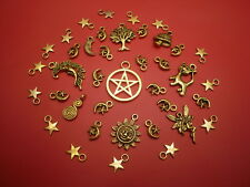 GOLD COLOURED CHARMS WICCA- WICCAN- PAGAN- GOTHIC FOR CRAFT WORK PENTACLE TREE