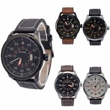 New Men's Faux Leather Analog Quartz Date Sport Army Wrist Watch