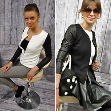 Women Collarless PU Leather Quilted Cropped Coat Biker Jacket Blazer Top Outwear