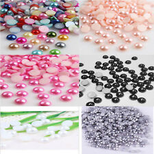 4mm2000pcs Half Round Bead Flat Back Acrylic Pearl Scrapbooking Embellishment g