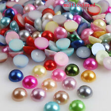 4mm 2000pcs Half Round Bead Flat Back Acrylic Pearl Scrapbooking Embellishment