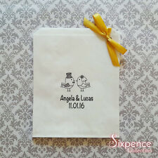 Wedding Love Birds Personalised White Lolly Candy Buffet Bags x 50