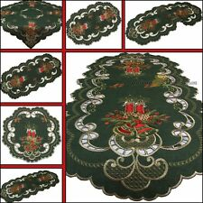 Dark-Green Doily Table runner Tablecloth Topper Christmas Red Candle Embroidery