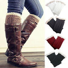 Newest Lady Womens Crochet Knit Lace Trim Leg Warmers Cuffs Toppers Boot Socks