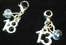 Silver Plated AGE Charm & crystal bead Clip on clasp or bail for snake bracelets
