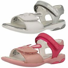 Girls SALE Clarks Wiggle Toes Pink Or White Leather Strap Sandals