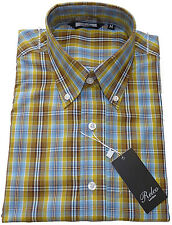 Mens Relco Sky Blue Tartan Check Shirt NEW Short Sleeved Retro Mod Skin Vtg