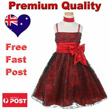 Red & Black Flower Girl Dress Formal Special Occasion Girls Dress Size 2 to 14