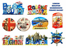 BRITISH CERAMIC MAGNETS - LONDON BRIGHTON BOURNEMOUTH MAGNETS UNION JACK MAGNETS