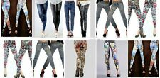 Lot Women Full Length Tattoo Leggings Pants Skinny Bottom Stockings Colors O/S
