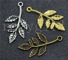 10/50/260pcs Tibetan Silver Beautiful Foliage Jewelry Charms Pendant DIY 30x16mm