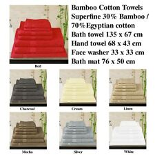 600gsm 30% Bamboo / 70% Egyptian Cotton Bath Towel Set and Single Piece -BCB36