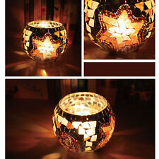 Retro Mosaic Glass Candle Holder Star Candlestick Home Party Ball Wedding Decor