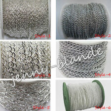 1-5m Silver Open Link Metal Chain Cable Jewelry Finding 1/3x2/3x4/6x4/8x7/10x5mm