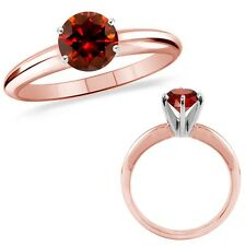 2 Carat Red Diamond Solitaire Engagement Wedding Promise Ring 14K Rose Gold