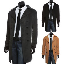 Mens Long Woolen Winter Jacket Double Breasted Peacoat Slim Trench Coat Overcoat