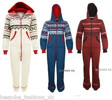 Ladies Aztec One Piece Hooded Women's All In One Zip Front Onesie Jumpsuit 8-14