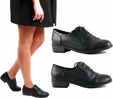 WOMENS LADIES FLAT BLACK LACE UP OXFORD OFFICE WORK BROGUES PUMPS SHOES SIZE