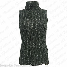 Ladies Women's Sleeveless Polo Neck Marl Knitted Ribbed Vest Top T Shirt 8-14