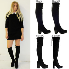 WOMENS LADIES OVER THE KNEE THIGH HIGH CHUNKY PLATFORM HEEL STRETCH BOOTS SIZE