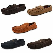 Mens Black Brown Dunlop Slippers Moccasin Suede Leather Warm Fleece Lined Shoes