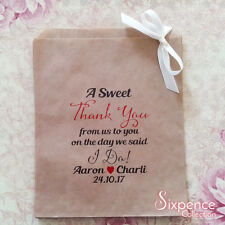 Personalised A Sweet Thank You I Do! Kraft Brown Paper Lolly Bags x 50
