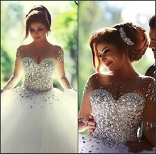 Luxury Crystal Bridal Gowns Beaded Sheer Long Sleeves Wedding Dress Custom Size
