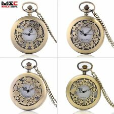 Bronze Alice In Wonderland Antique Pocket Watch Pendant Necklace Quartz Chain US