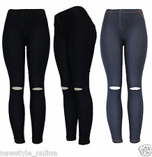 New Ladies Black Blue Skinny Slim Fit Knee Cut Ripped Jegging Leggings Jeans