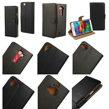 Genuine Real Premium Stand Leather Flip Black Wallet Case Cover Credit Card Slot
