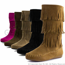 New Youth Girls Comfort Three Layers Fringe Boots Candice 48K (Youth 11 - 4)