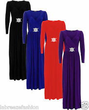 Ladies Womens Buckle Maxi Evening Bridesmaid Formal Wedding Dress Plus Size 8-26