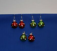 Red Green Glitter Polka Dot Glass Ball Christmas Ornaments Holiday Pair Earrings