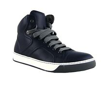 LANVIN NAVY BLUE 100% LEATHER RUBBER SOLE TALL SHOES SNEAKERS ITALY # 27 NEW BOX