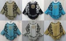 Women's Poncho Vintage African Top Mud Cloth Blouse Dashiki Hippie Free Size