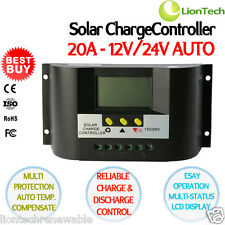 20A 12V 24V PWM Solar Panel Battery Regulator Charge Controller Intelligent LCD