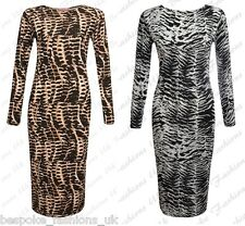 New Women's Brown Snake / Zebra Animal Longsleeve Ladies Bodycon Midi Dress 8-14